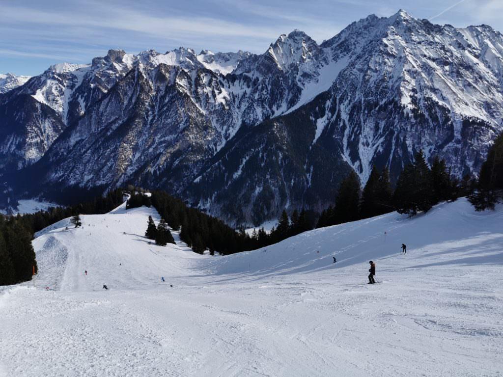 Skigebiet Brandnertal - die Abfahrt zur Mittelstation