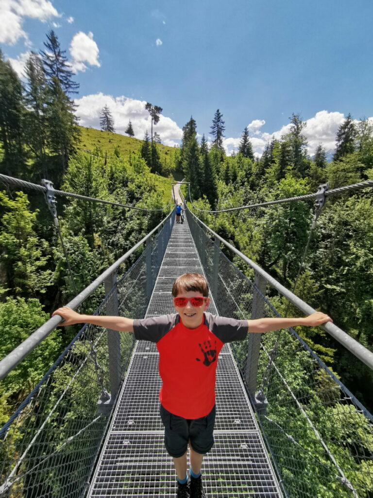 Wandern mit Kindern München - die Hängebrücke bei der Tannenhütte