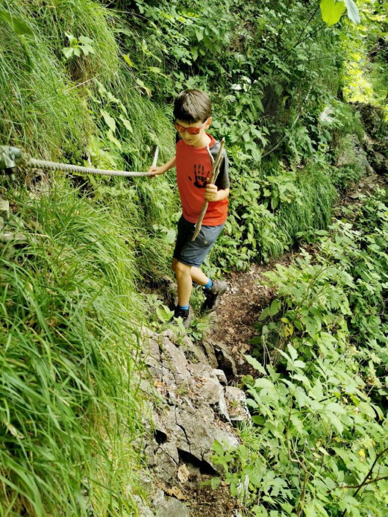 Stellenweise steil, schmal und mit Seilen gesichert - der Jägersteig durch die Weizklamm