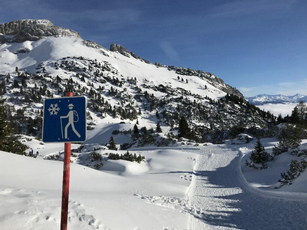 Auch eine Möglichkeit im Familienskigebiet Rofan: Winterwandern in der schönen Landschaft