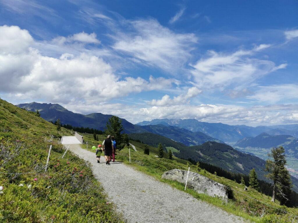 Zillertal wandern mit Kinderwagen - auf dem Hubertus Wildtierpfad