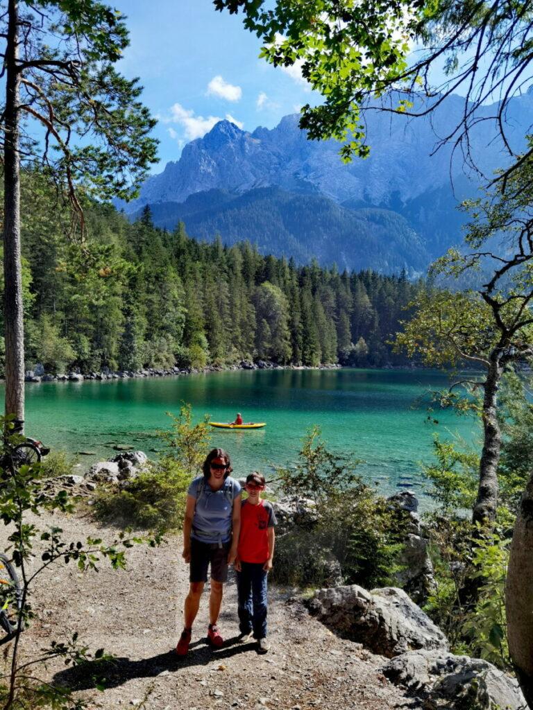 An der Zugspitze mit Kindern - kostenlos um den Eibsee wandern